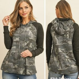 Colorblock Camouflage Hooded Long Sleeve T…